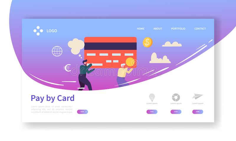 Online Card Payment Concept Landing Page. Easy Payments Banner with Flat People Characters Website Template. Easy Edit. And Customize. Vector illustration stock illustration