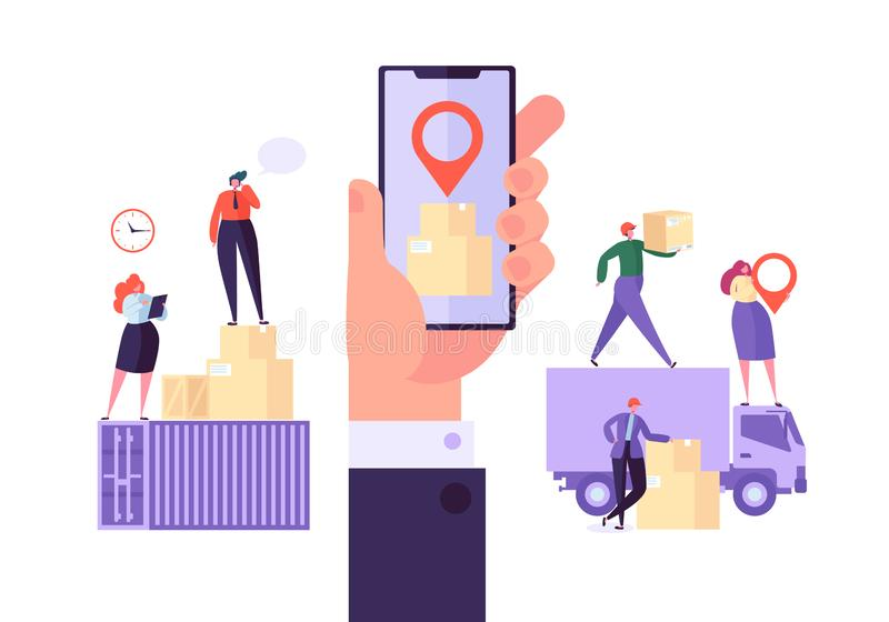 Online Cargo Delivery Mobile App Tracking Service. Worldwide Logistic Delivery Concept with Courier Characters stock illustration