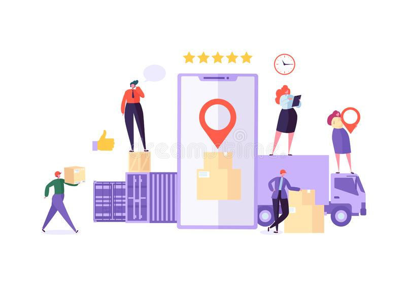 Online Cargo Delivery Mobile App Tracking Service. Worldwide Logistic Delivery Concept with Courier Characters vector illustration