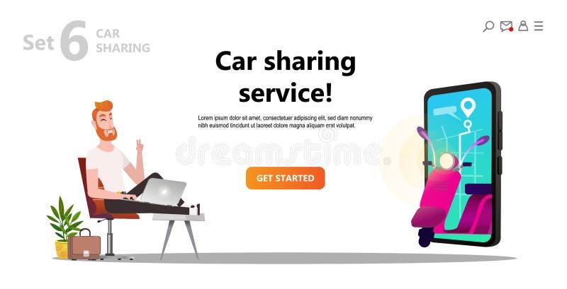 Online-carsharing Man- och sparkcykelhyra royaltyfri illustrationer