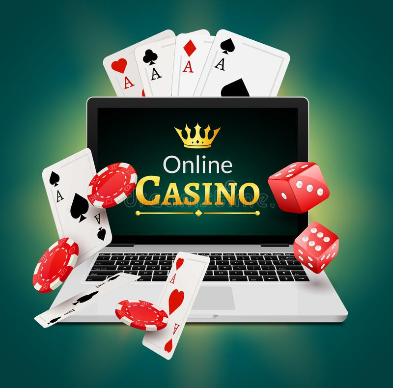 Online casino banner concept with laptop. Poker design or fortune casino gambling. Dice and chips vector illustration vector illustration