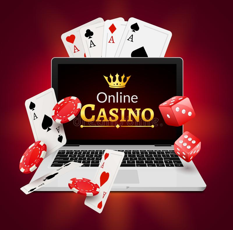 Online casino banner concept with laptop. Poker design or fortune casino gambling. Dice and chips vector illustration stock illustration