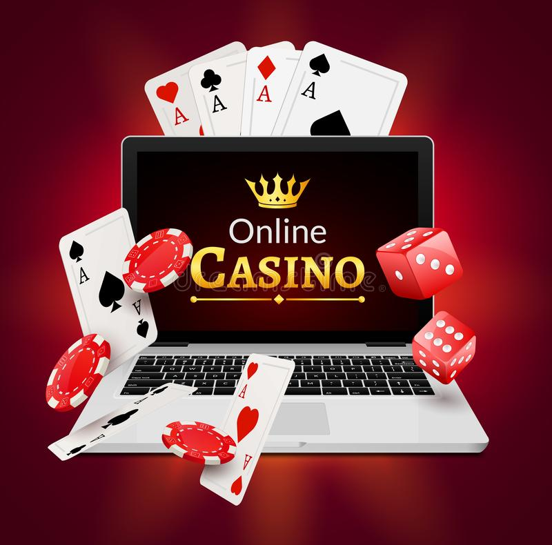 Online casino banner concept with laptop. Poker design or fortune casino gambling. Dice and chips vector illustration royalty free illustration