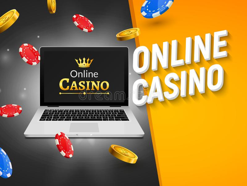 Online casino banner with laptop coins and falling chips. Roulette luck money game. Online poker casino.  vector illustration