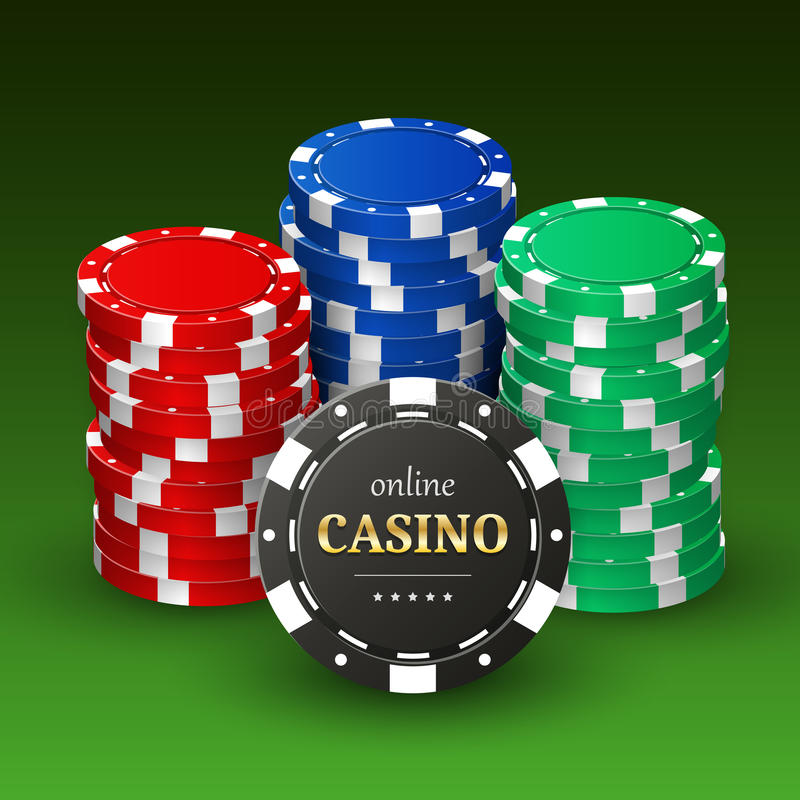 Online casino banner with realistic 3d plastic chips royalty free illustration