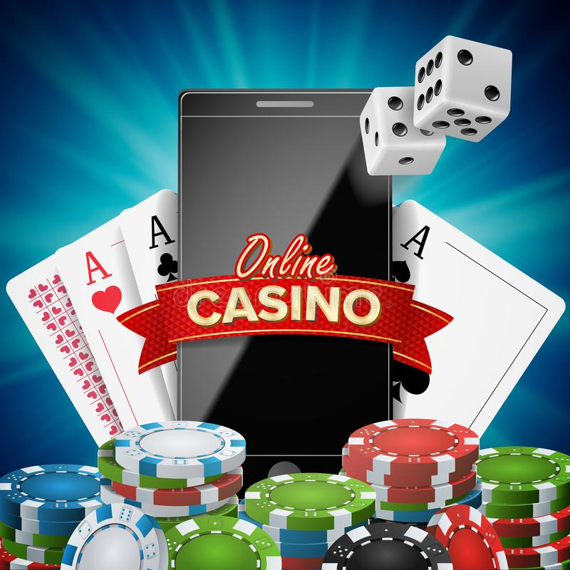 Online Casino Banner Vector. Realistic Smart Phone. Explosion Bright Chips, Playing Dice, Dollar Banknotes. Winner vector illustration