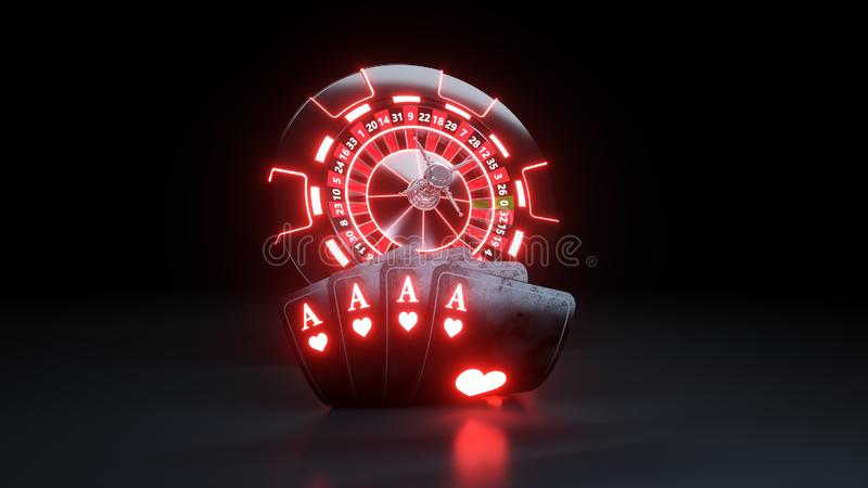 Online Casino Chips and Poker Cards 4 Aces In Hearts - 3D Illustration. Casino Gambling Futuristic Concept, Roulette Wheel and Poker Cards 3D Illustration on the stock illustration