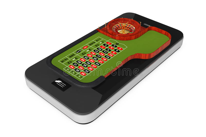 Online Casino Concept. Classic Casino Roulette Table over Mobile. Phone on a white background. 3d Rendering vector illustration