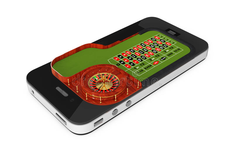 Online Casino Concept. Classic Casino Roulette Table over Mobile. Phone on a white background. 3d Rendering stock illustration