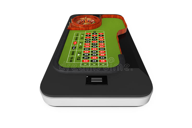 Online Casino Concept. Classic Casino Roulette Table over Mobile. Phone on a white background. 3d Rendering royalty free illustration