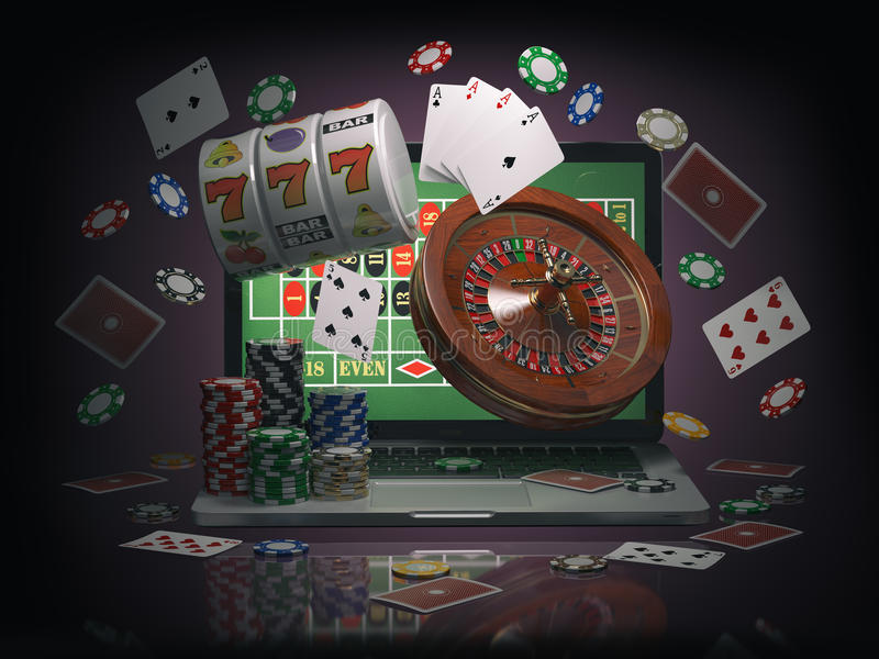 Online casino concept. Laptop with roulette, slot machine, casino chips and playing cards isolated on black background. 3d illustration stock illustration