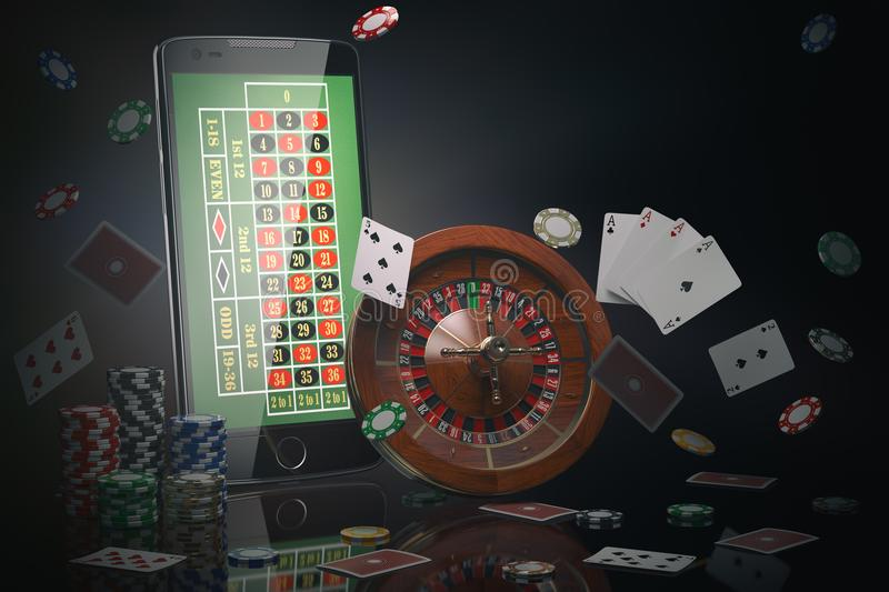 Online casino concept. Mobile phone, roulette with casino chips, slot machine and cards. royalty free illustration