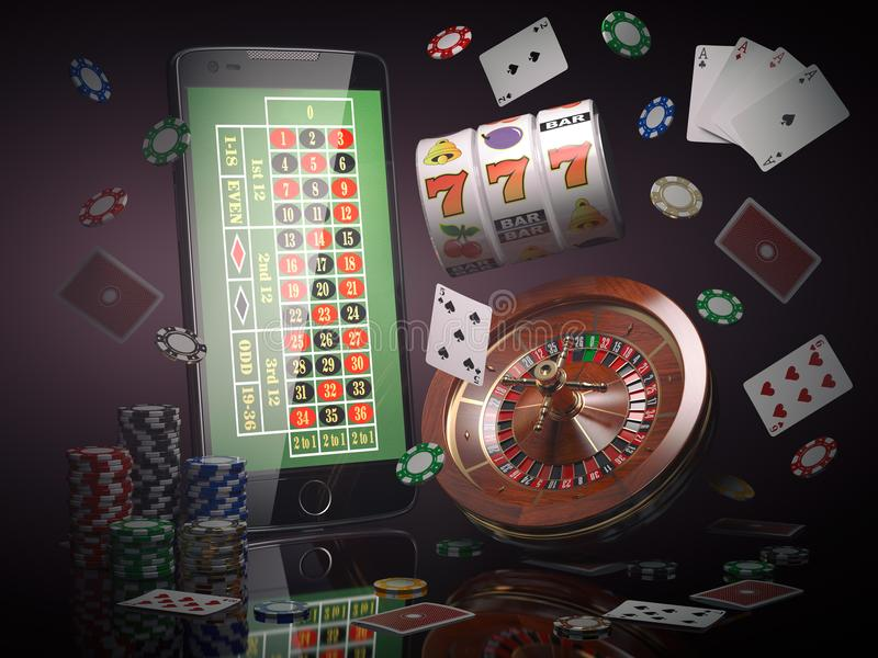Online casino concept. Mobile phone, roulette with casino chips, slot machine and cards. 3d illustration vector illustration
