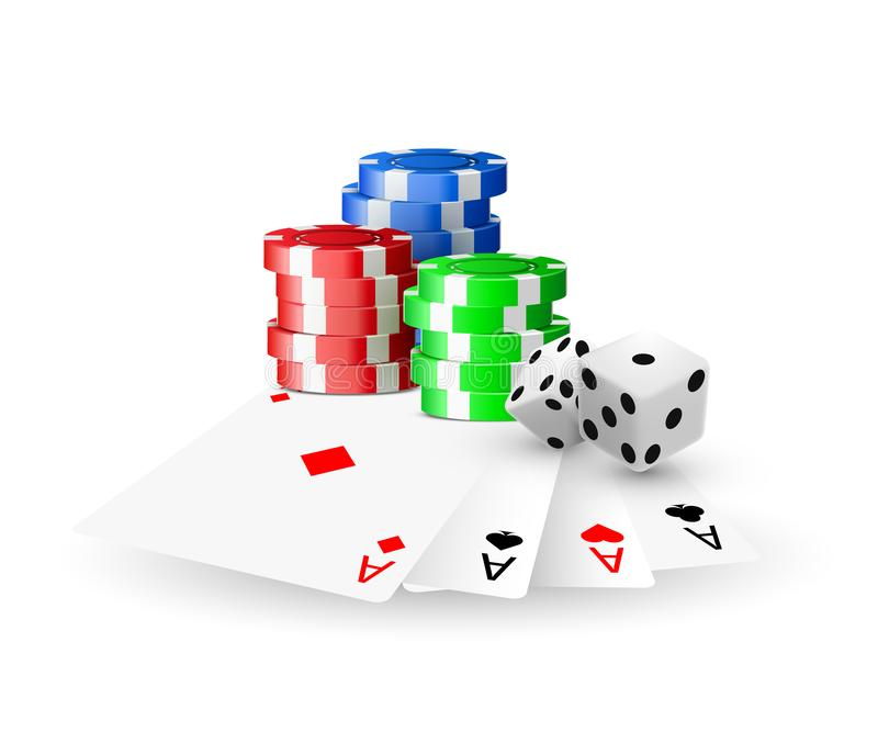 Online casino concept, playing cards, dice chips. Banner template layout mockup for casinos and gambling. Vector illustration stock illustration