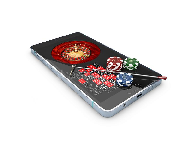 Online casino concept, playing cards, dice chips and smartphone 3d Illustration royalty free stock photography