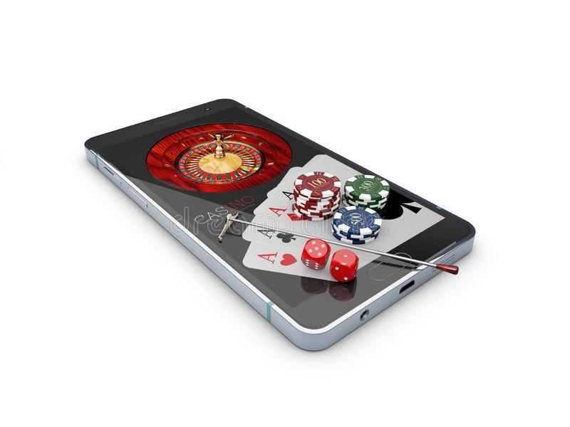 Online casino concept, playing cards, dice chips and smartphone 3d Illustration.  royalty free illustration