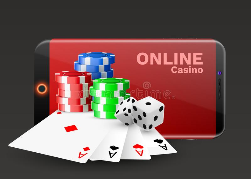 Online casino concept, playing cards, dice chips and smartphone with copyspace. Banner template layout mockup for online casinos. And gambling. Vector royalty free illustration