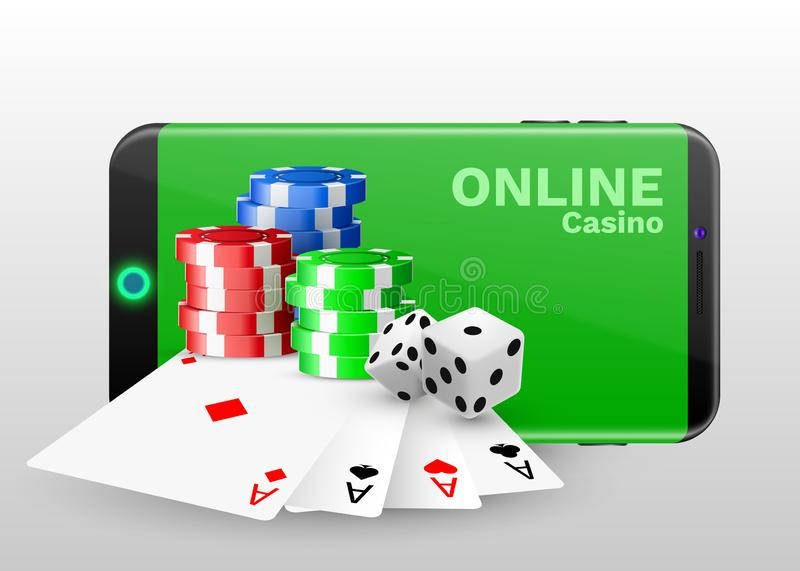 Online casino concept, playing cards, dice chips and smartphone with copyspace. Banner template layout mockup for online casinos. And gambling. Vector vector illustration
