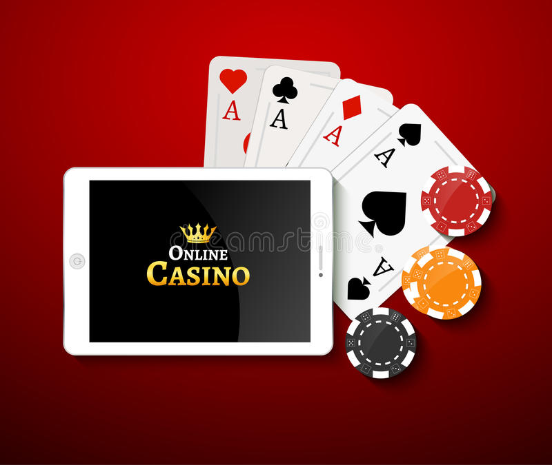 Online casino design poster banner. Tablet with poker chips and cards on table. Casino gambling background, poker mobile app vector illustration