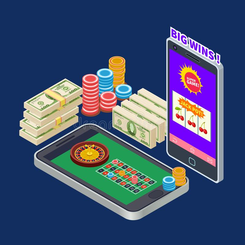 Online casino or gambling with banknotes and chips isometric vector concept vector illustration