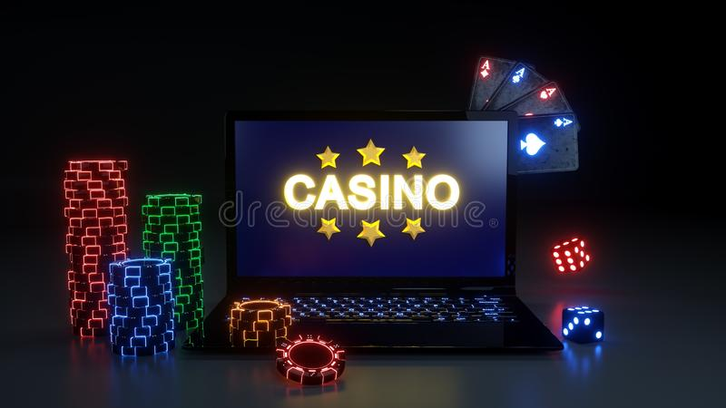 Online Casino Gambling Concept With Glowing Neon Lights, Poker Cards and Poker Chips Isolated On The Black Background - 3D Illustr stock illustration