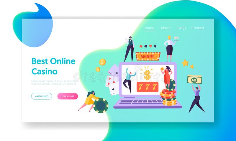 Online Casino Gambling Concept Landing Page. Happy Male Character Win Jackpot 777. People Play European Roulette. Hold Money Sign Website or Web Page. Flat vector illustration