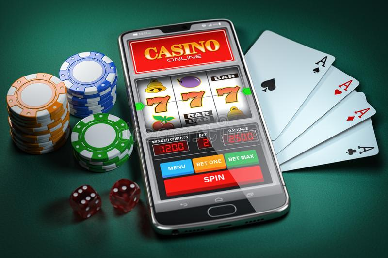 Online Casino Concept. Mobile Phone And Slot Machine With Jackpo Stock  Illustration - Illustration of business, leisure: 57132168