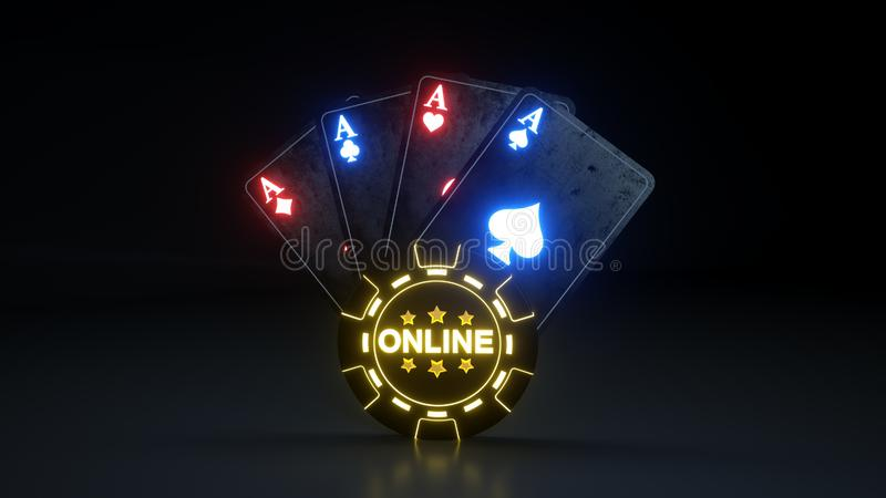 Play Online Casino Gambling Poker Cards Concept With Glowing Neon Lights  Isolated On The Black Background - 3D Illustration Stock Illustration -  Illustration of graphic, isolated: 143232295