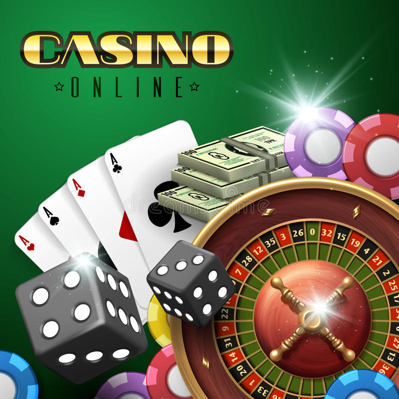 Online casino gambling vector background with roulette, dice and poker cards. Poker and dice in casino online illustration royalty free illustration