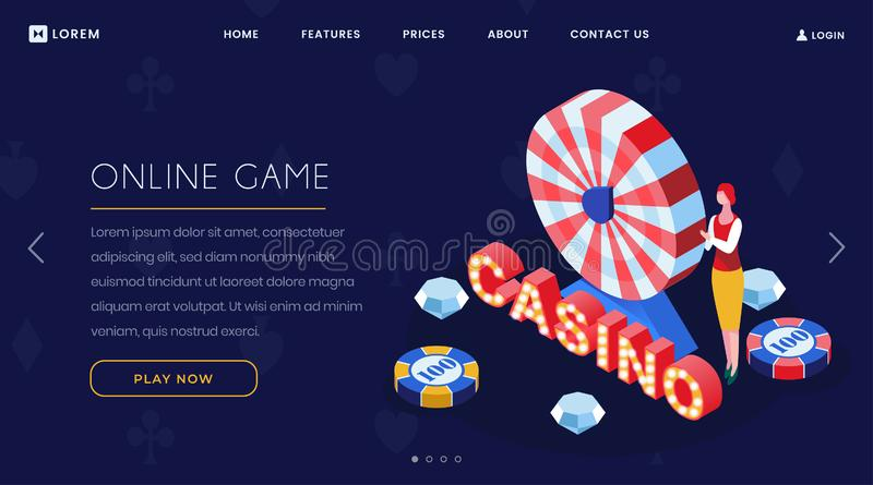 Online casino game isometric landing page. Internet gambling business, casino luxury roulette striped wheel 3D website vector illustration