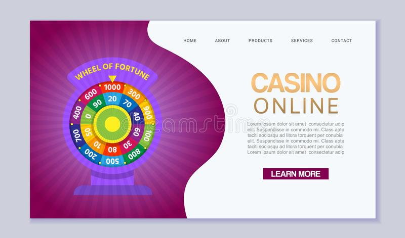 Online casino, internet gambling, wheel of fortune. Website homepage interface UI vector template. Landing web page with stock illustration