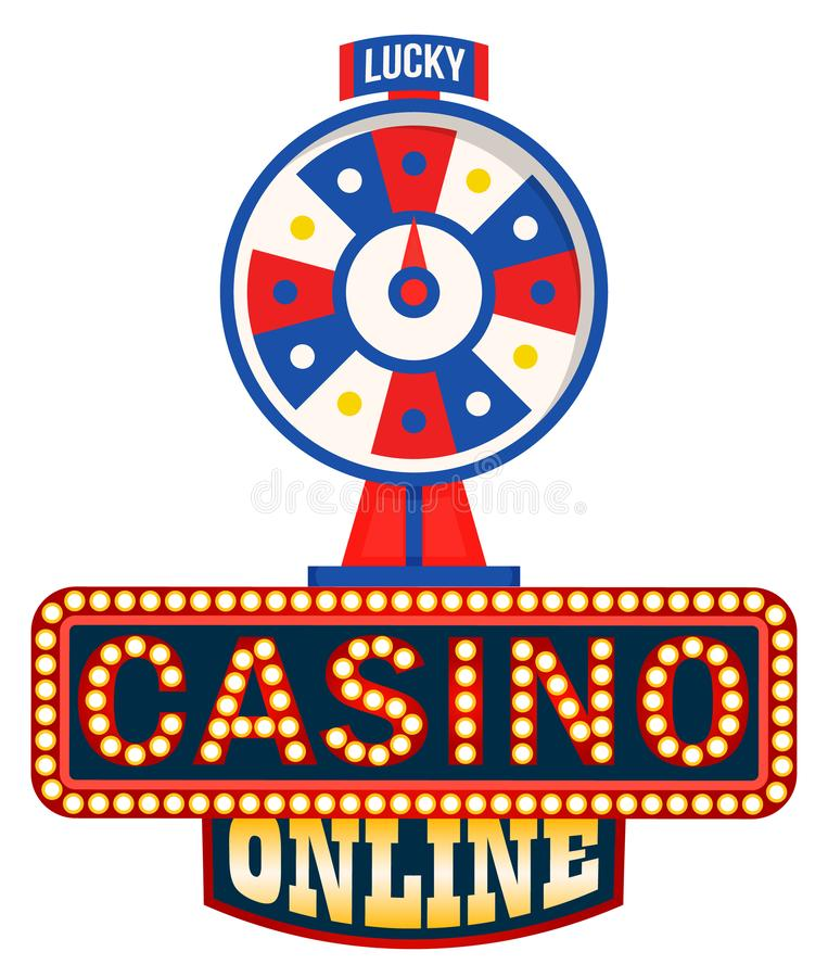 Online Casino Logo, Lucky Fortune Wheel Isolated. On white. Vector symbol of gambling games, rotation circle with pointer, entertainment and betting concept stock illustration
