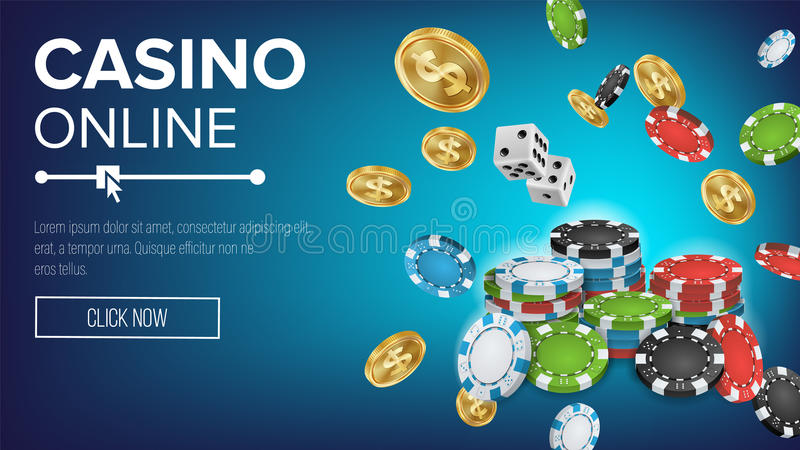 Online Casino Poster Vector. Poker Gambling Casino Sign. Bright Chips, Playing Dice, Dollar Coins. Winner Lucky Symbol stock illustration