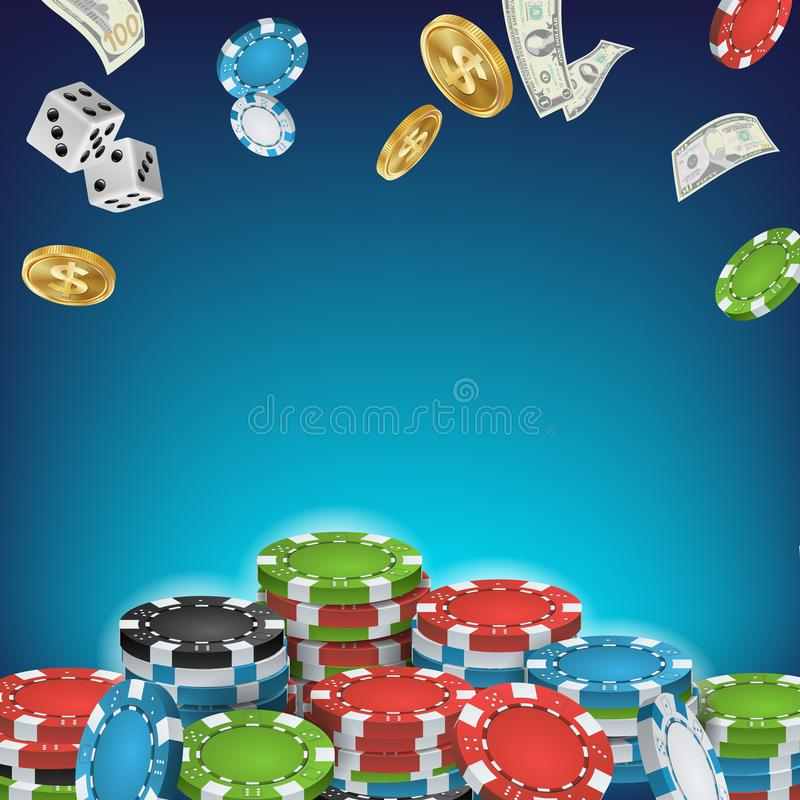 Online Casino Poster Vector. Poker Gambling Casino Sign. Bright Chips, Flying Dollar Coins, Banknotes Explosion. Winner vector illustration