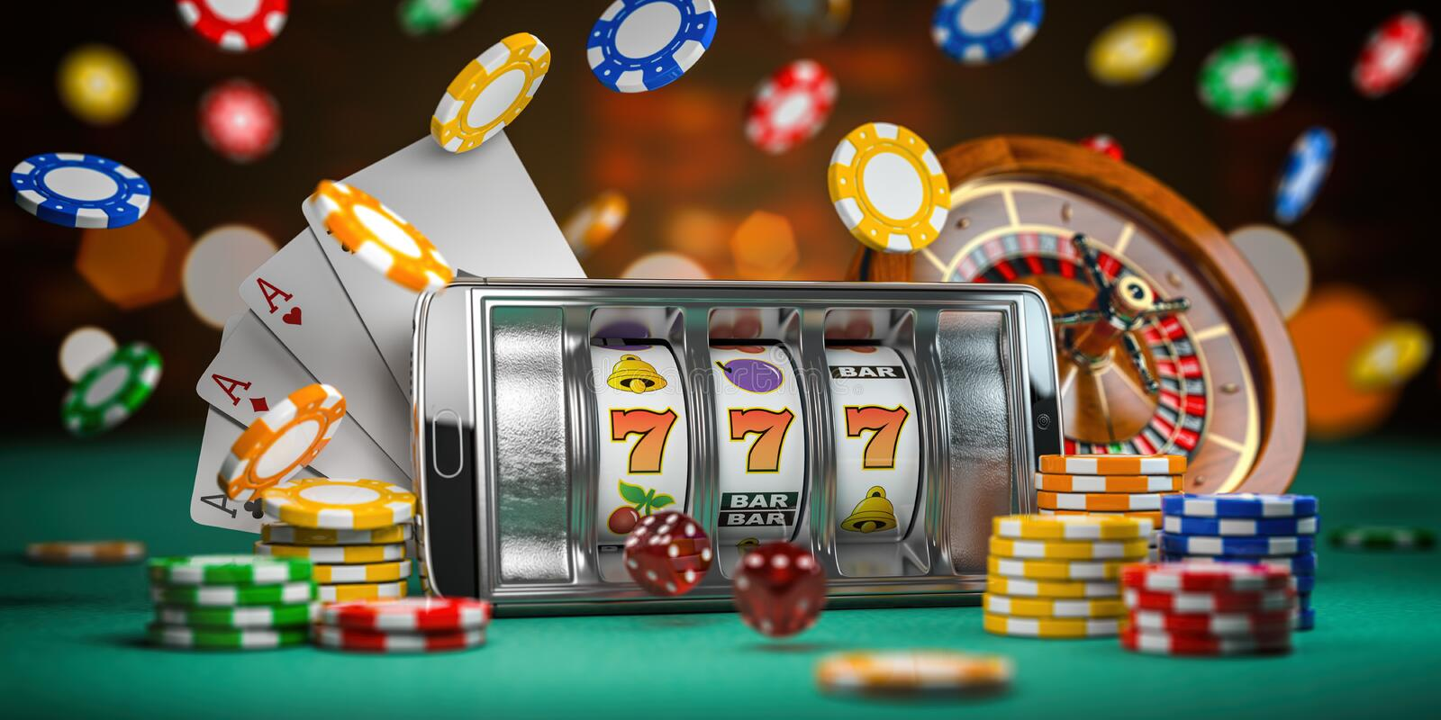 Online casino. Smartphone or mobile phone, slot machine, dice, cards and roulette on a green table in casino. 3d. Illustration vector illustration