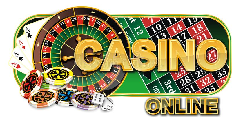 Online Casino Sticker. with the Image of Dice, Roulette, Cards and Chips.  There is an Additional PNG Format. Stock Photo - Illustration of text,  cards: 202269128