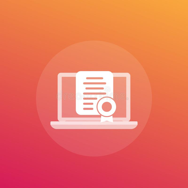 Online certification, certificate vector icon royalty free illustration