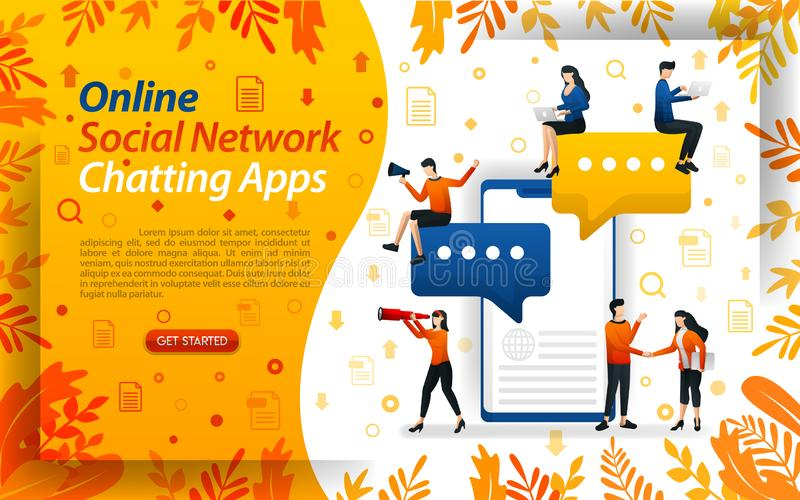 Online chat apps. social network to send messages. mobile apps for chat, concept vector ilustration. can use for, landing page, te royalty free illustration