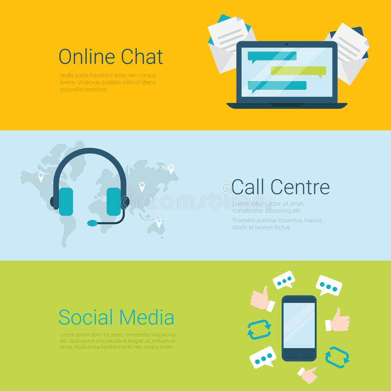 Online chat call centre social media flat vector slider banner vector illustration