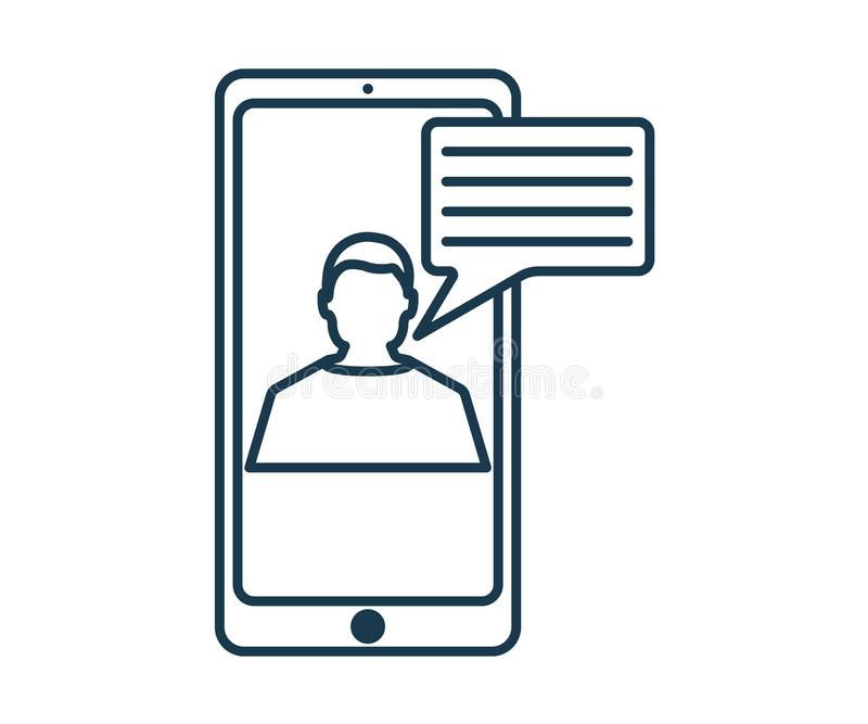Online Chat Icon. Concept for Hi Tech. Outline Technical Symbol, Icon and Badge. Simple Vector illustration vector illustration
