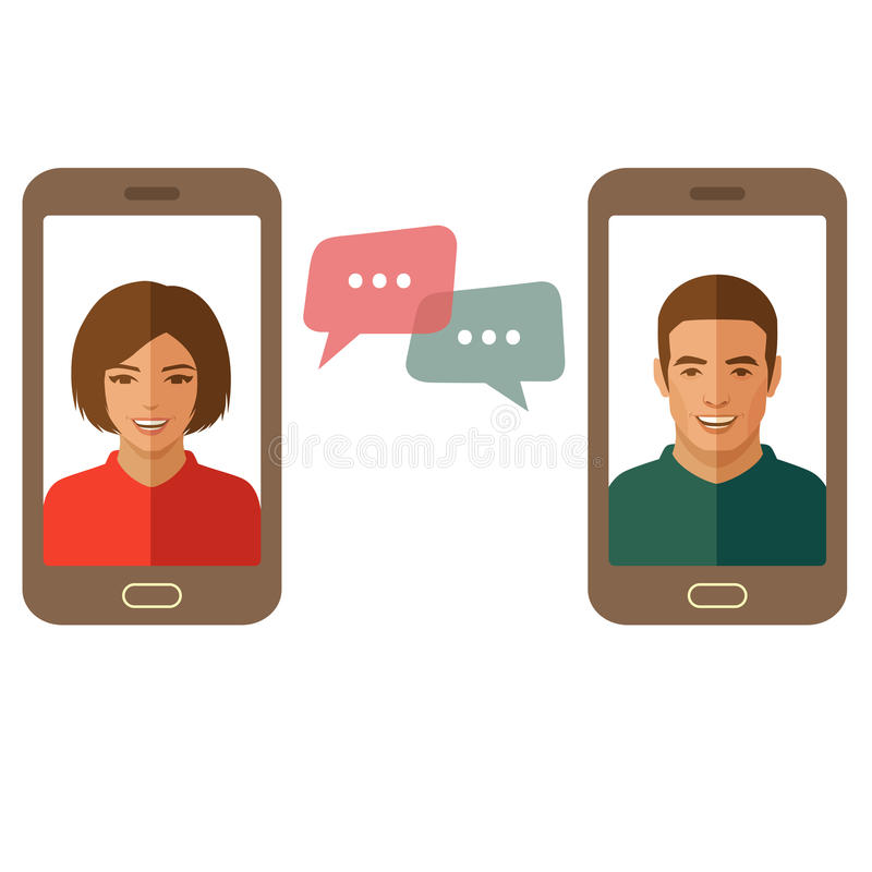 Online chat man and woman. Couple chat on a cell phone vector illustration