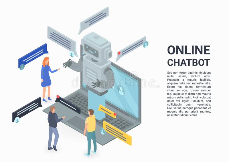 Online-chatbotbegreppsbaner, isometrisk stil stock illustrationer