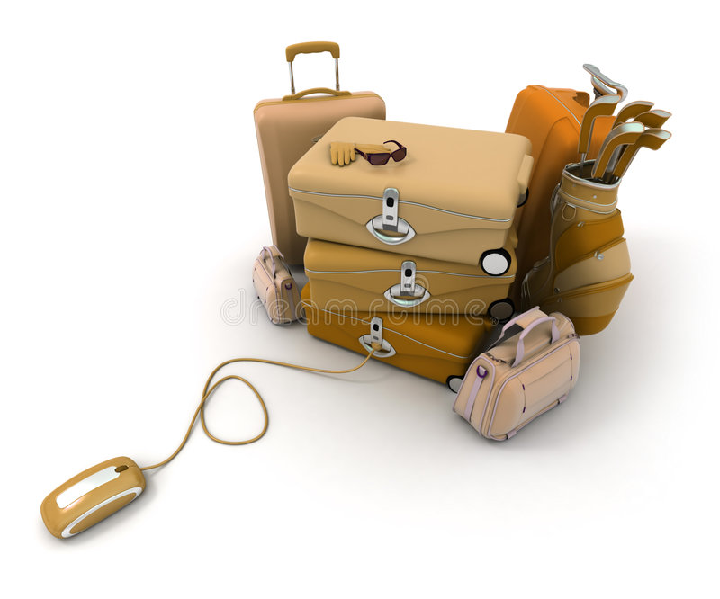 Download Online check-in stock illustration. Image of briefcase - 5704453