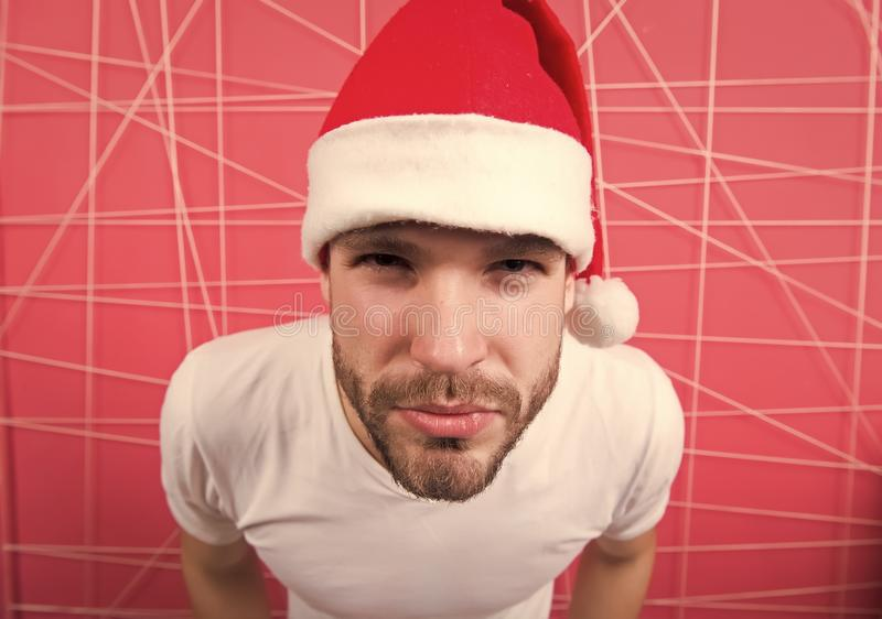 Online christmas shopping. Happy new year. santa man. The morning before Xmas. Thank you. man in santa hat wait for. Christmas present. delivery christmas gifts stock photo
