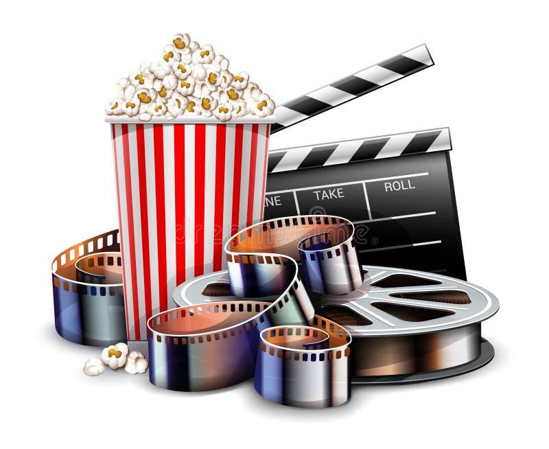 Online cinema art movie watching with popcorn. Vector illustration. royalty free illustration