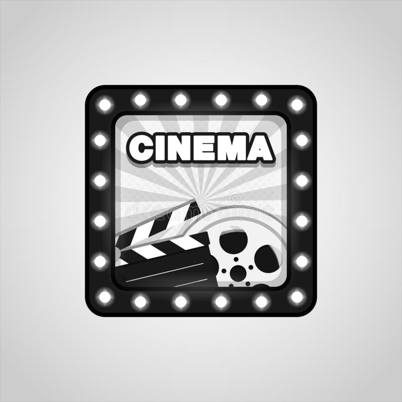 Online cinema art movie watching. Vector Black White cinematography concept. Eps 10 royalty free illustration