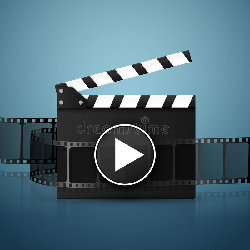 Online Cinema Background With Movie Reel And Clapper Board. Vector vector illustration