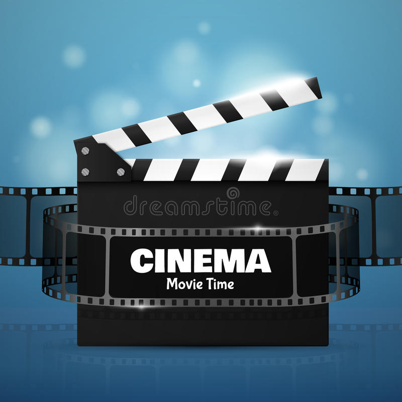 Online Cinema Background With Movie Reel And Clapper Board. Vector stock illustration