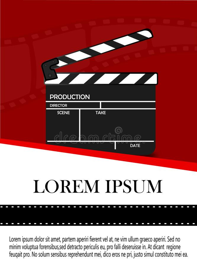 Online Cinema Background With Movie Reel And Clapper Board. Vector Flyer Or Poster. Illustration Of Film Industry. Template For royalty free illustration