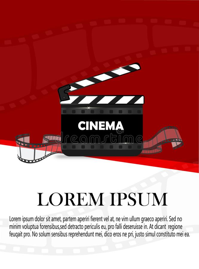 Online Cinema Background With Movie Reel And Clapper Board. Vector Flyer Or Poster. Illustration Of Film Industry. Template For. Your royalty free illustration